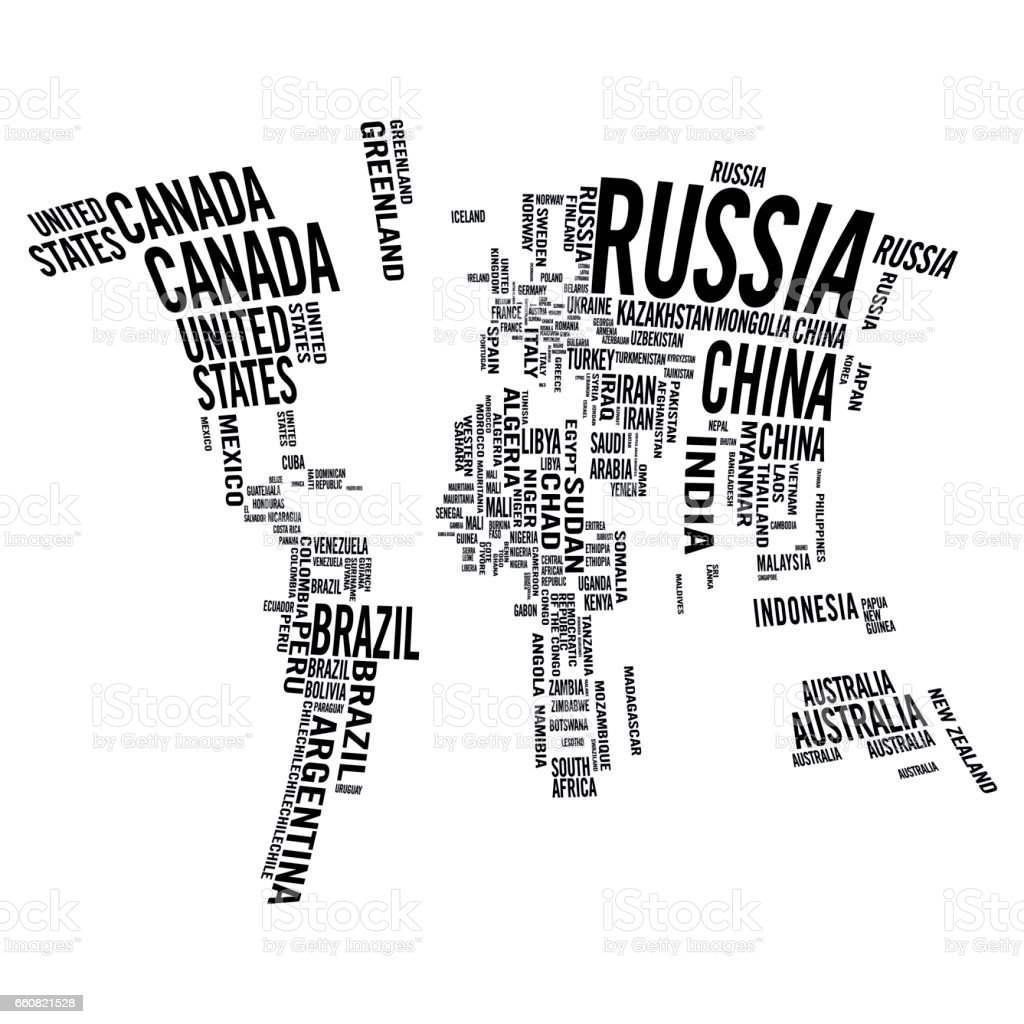 World Map Illustrated With Countries Names Stock Vector Art & More ...
