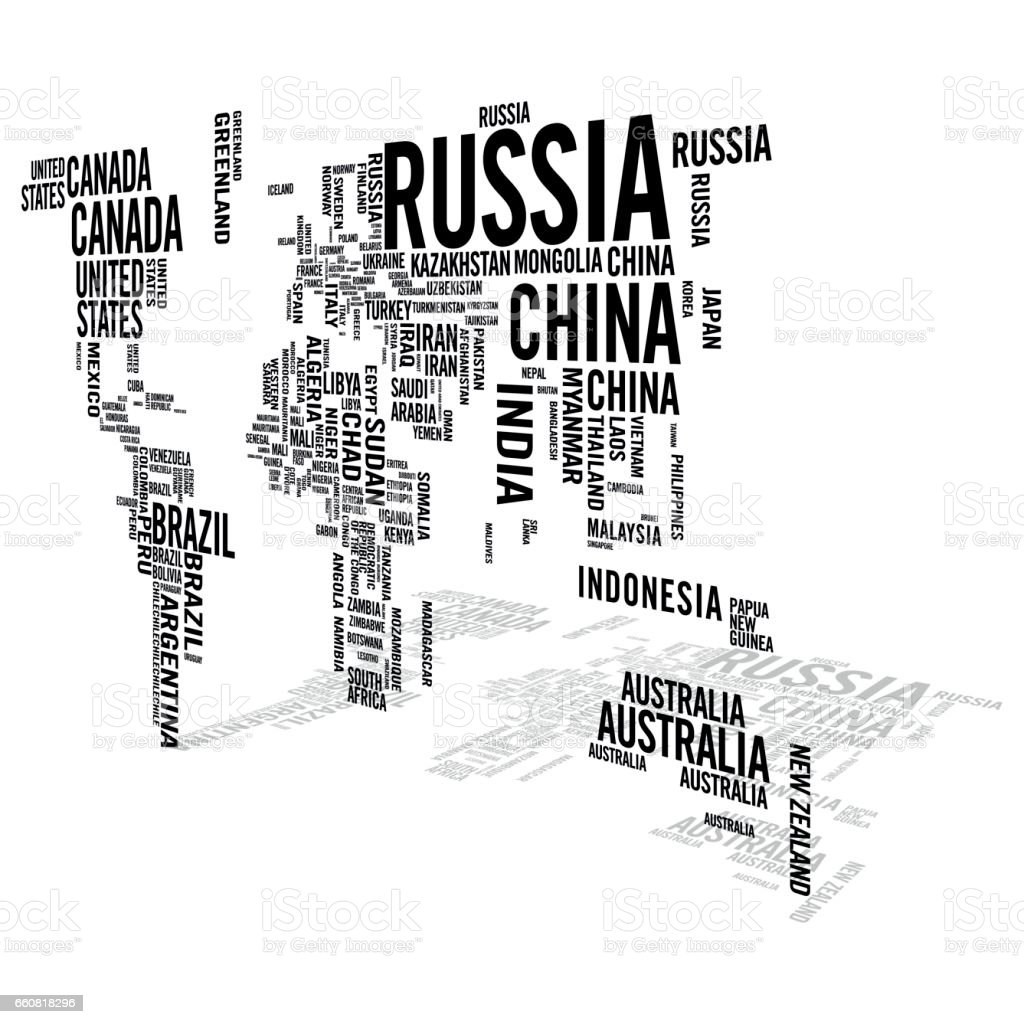 World map illustrated with countries names with perspective shadow world map illustrated with countries names with perspective shadow royalty free world map illustrated with gumiabroncs Image collections
