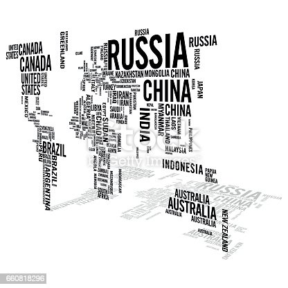 World map illustrated with countries names with perspective shadow world map illustrated with countries names with perspective shadow stock vector art more images of africa 660818296 istock gumiabroncs Choice Image