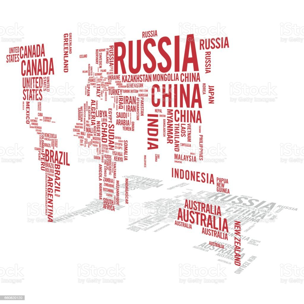 World Map Illustrated With Countries Names With Perspective Shadow