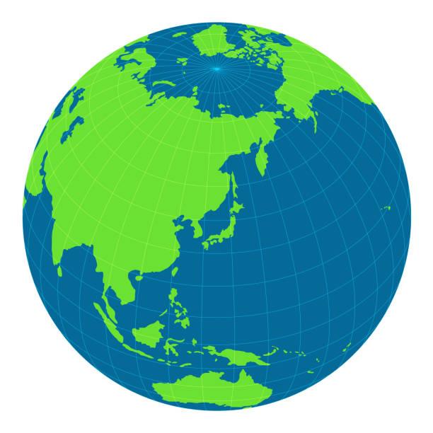 世界地図イラスト (グローブ ・球)。日本と東アジアに焦点を当てます。 - 地球 日本点のイラスト素材/クリップアート素材/マンガ素材/アイコン素材