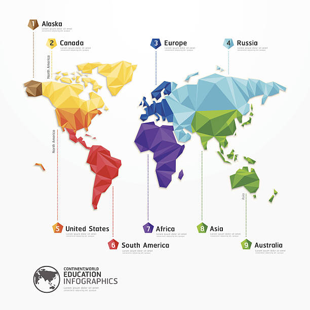 world map illustration infographics geometric concept design vector art illustration