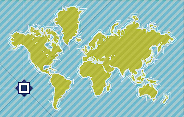 ilustrações de stock, clip art, desenhos animados e ícones de mapa do mundo de 45 graus - mapa mundi