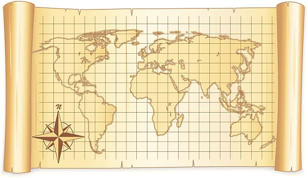 Weltkarte in einem Blättern – Vektorgrafik