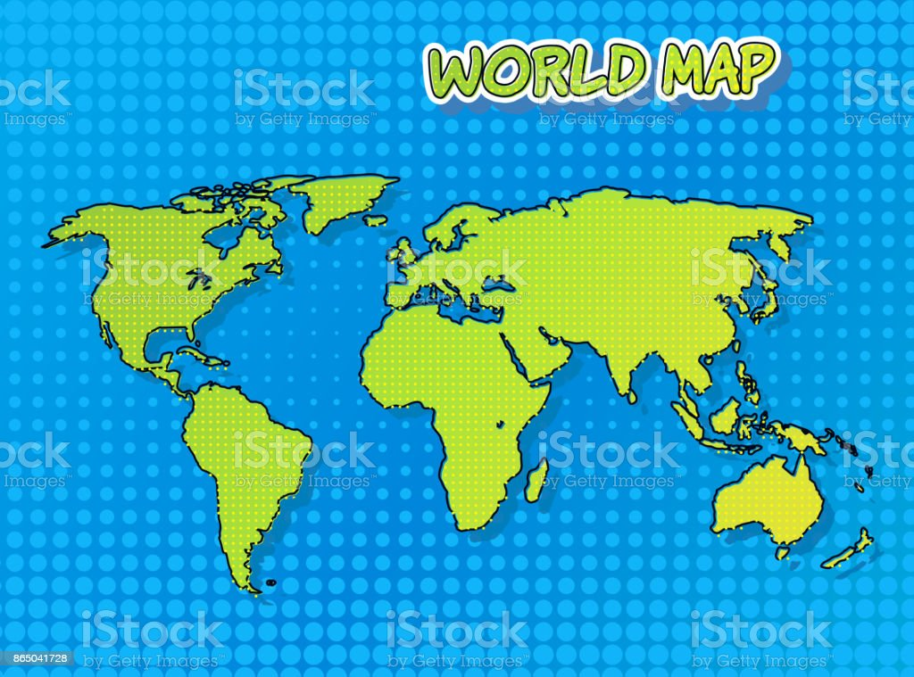 World map in comic book and pop art style with halftone technique world map in comic book and pop art style with halftone technique vector art royalty gumiabroncs Image collections