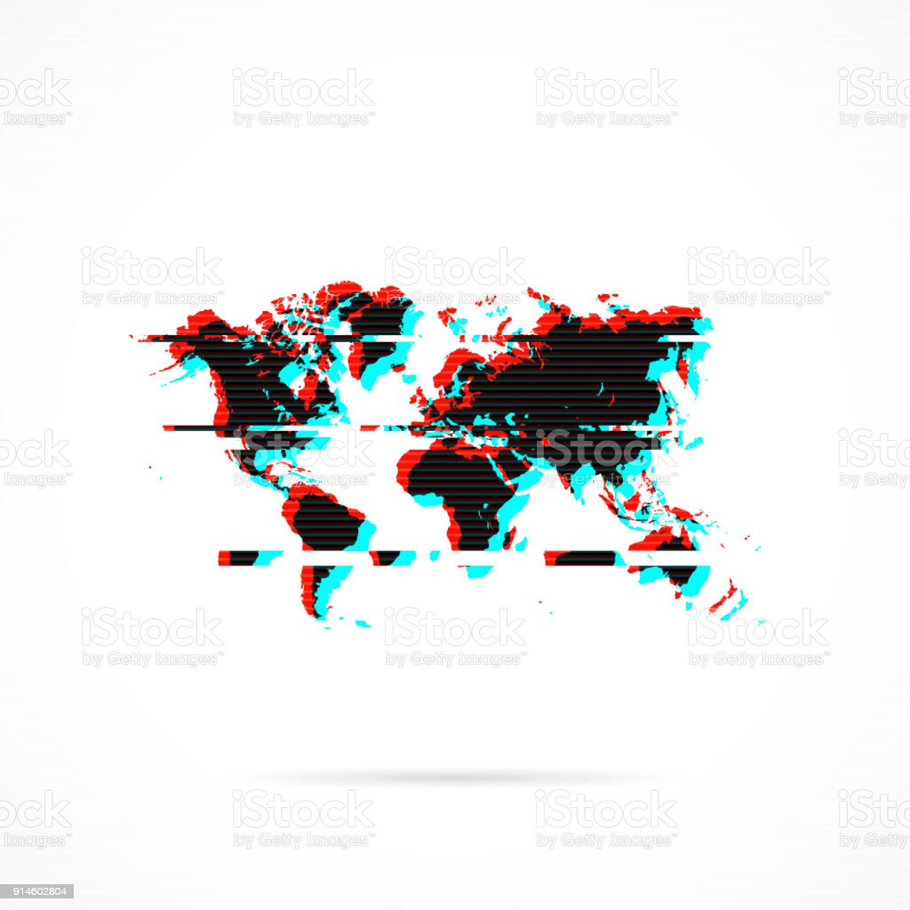 world map in distorted glitch style modern trendy effect royalty free world map in