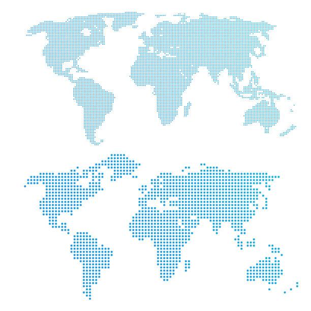 Weltkarte in Punkten, blau. – Vektorgrafik