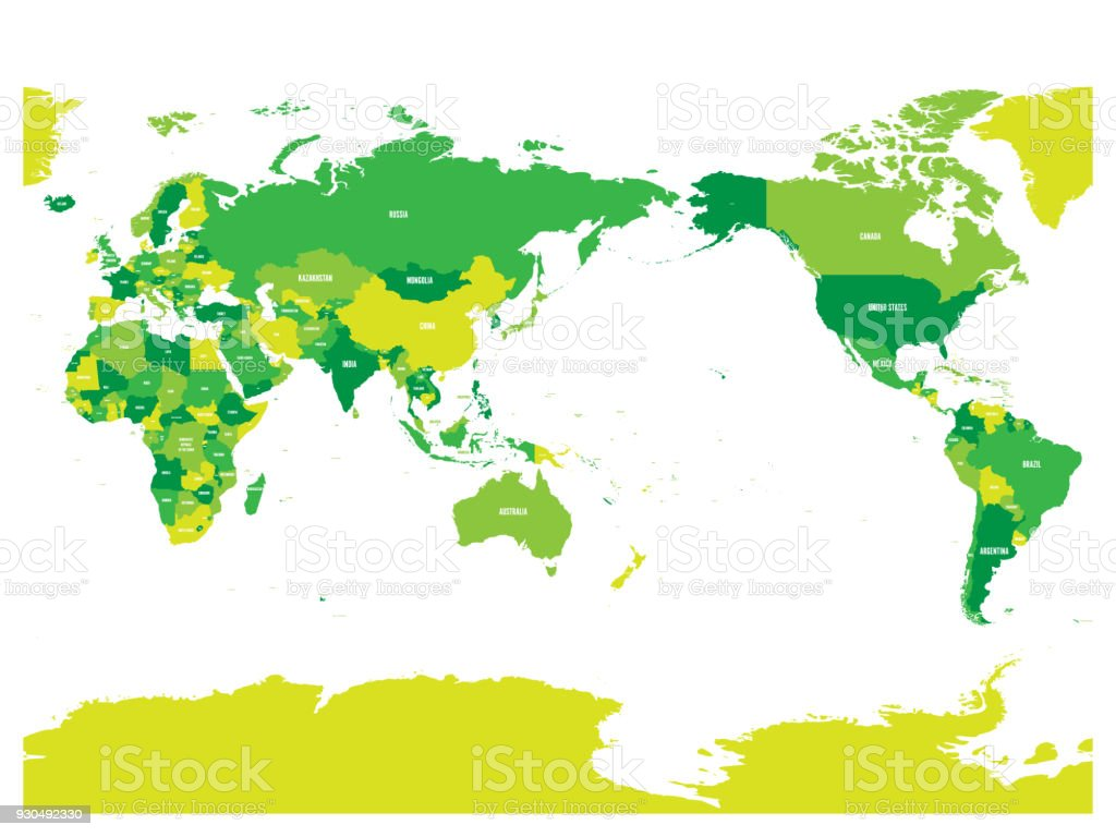 World map in four shades of green on white background high detail world map in four shades of green on white background high detail pacific centered political gumiabroncs Gallery