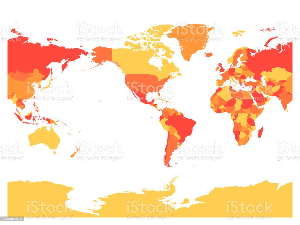 World map in four shades of red on white background high detail world map in four shades of red on white background high detail america centered political gumiabroncs Choice Image