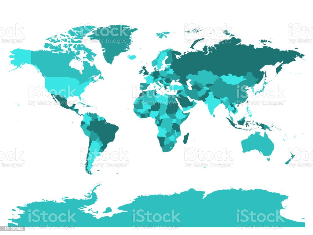 World Map In Four Shades Of Turquoise Blue On White Background High