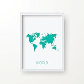 World Map in Frame on White Background