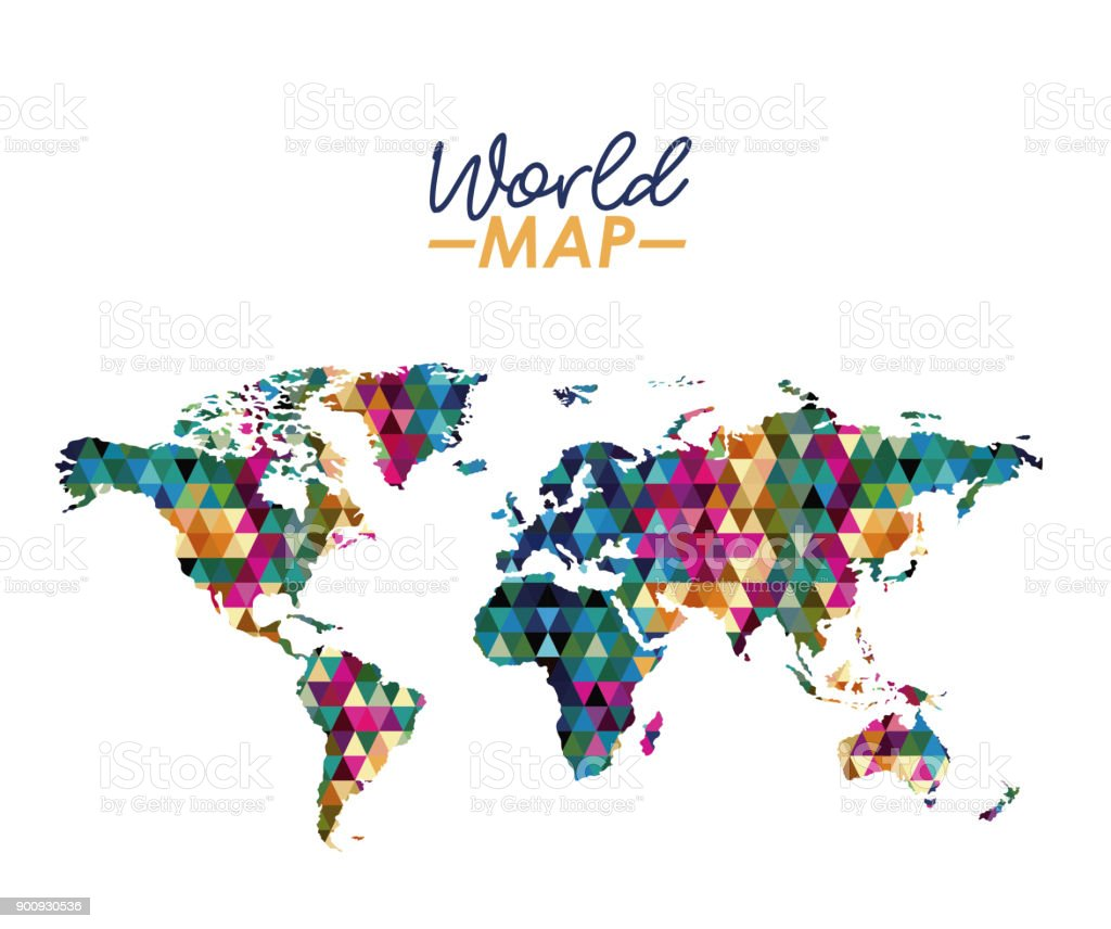 World map in geometrical colorful shape silhouette stock vector art world map in geometrical colorful shape silhouette royalty free world map in geometrical colorful shape gumiabroncs Image collections