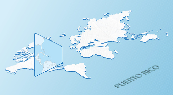 World Map in isometric style with detailed map of Puerto Rico. Light blue Puerto Rico map with abstract World Map.