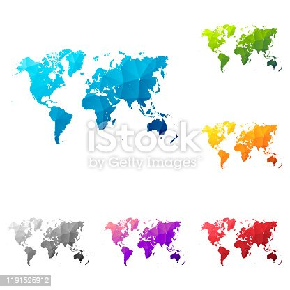 Set of 6 World maps created in a Low Poly style, isolated on a blank background. Modern and trendy polygonal mosaic with beautiful color gradients (colors used: Blue, Green, Orange, Yellow, Red, Pink, Purple, Black, Gray). Vector Illustration (EPS10, well layered and grouped). Easy to edit, manipulate, resize or colorize.