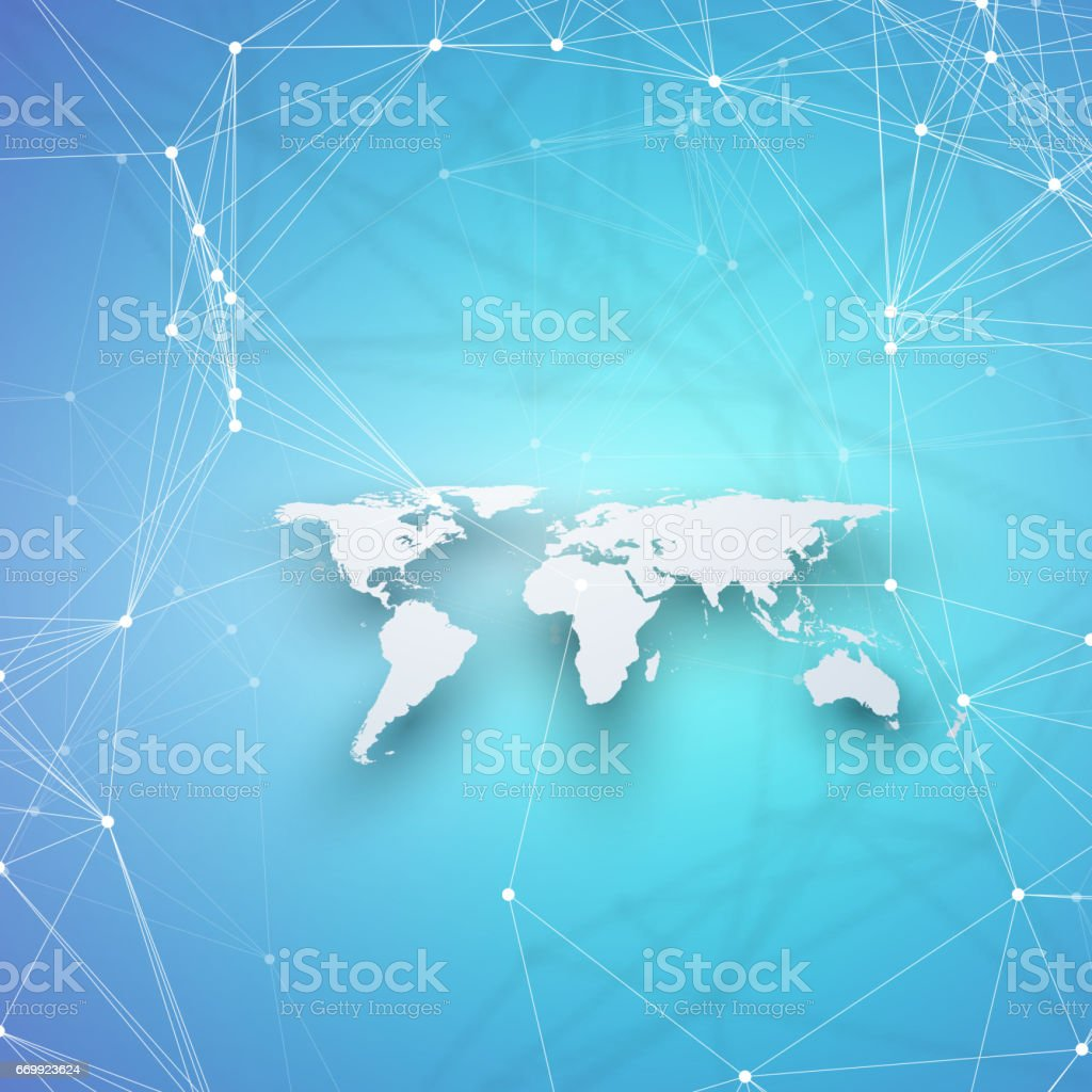 World map in perspective with shadow on blue abstract global network world map in perspective with shadow on blue abstract global network connections geometric design gumiabroncs Images