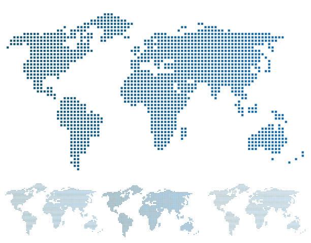 World map in pixels. vector art illustration