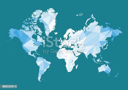 World map in polygon style. Vector illustration