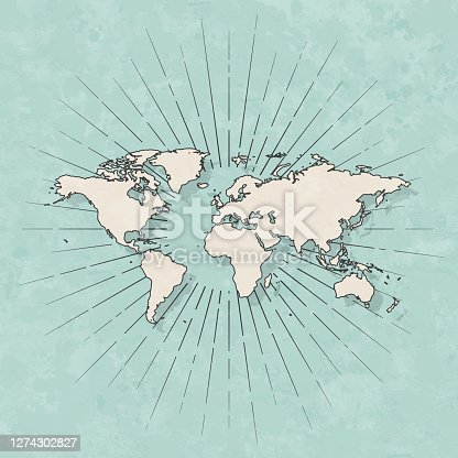istock World map in retro vintage style - Old textured paper 1274302827