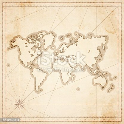 Map of World in vintage style. Beautiful illustration of antique map on an old textured paper of sepia color. Old realistic parchment with a compass rose, lines indicating the different directions (North, South, East, West) and a frame used as scale of measurement.Vector Illustration (EPS10, well layered and grouped). Easy to edit, manipulate, resize or colorize. Please do not hesitate to contact me if you have any questions, or need to customise the illustration. http://www.istockphoto.com/portfolio/bgblue
