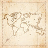 World map in retro vintage style - old textured paper