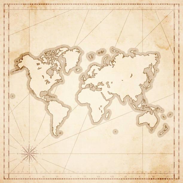 ilustraciones, imágenes clip art, dibujos animados e iconos de stock de mapa del mundo en estilo vintage retro - antiguo con textura papel - viaje a áfrica