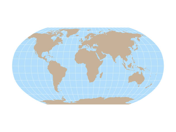 ilustrações de stock, clip art, desenhos animados e ícones de world map in robinson projection with meridians and parallels grid. brown land and blue sea. vector illustration - latitude