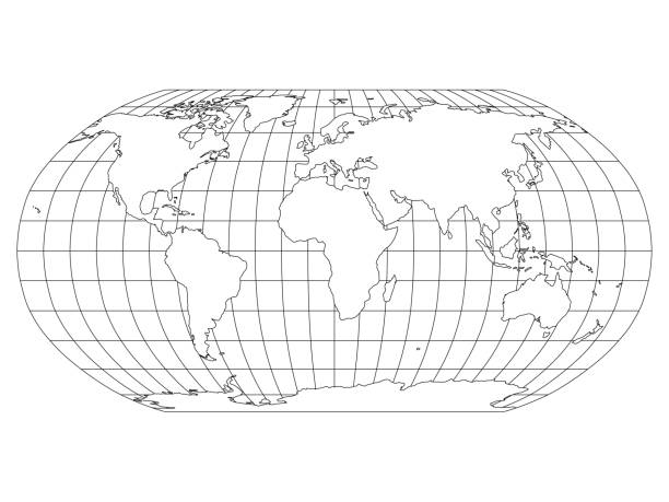 ilustrações de stock, clip art, desenhos animados e ícones de world map in robinson projection with meridians and parallels grid. white land with black outline. vector illustration - latitude
