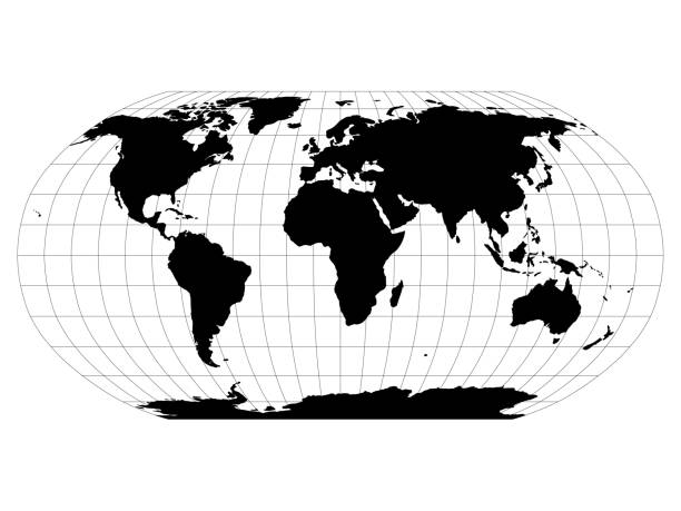 ilustrações de stock, clip art, desenhos animados e ícones de world map in robinson projection with meridians and parallels grid. black land with black outline. vector illustration - latitude