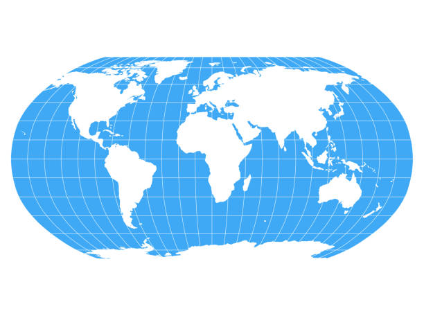 ilustrações de stock, clip art, desenhos animados e ícones de world map in robinson projection with meridians and parallels grid. white land and blue sea. vector illustration - latitude