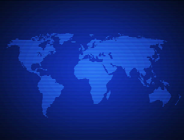 Weltkarte in Bildschirm – Vektorgrafik