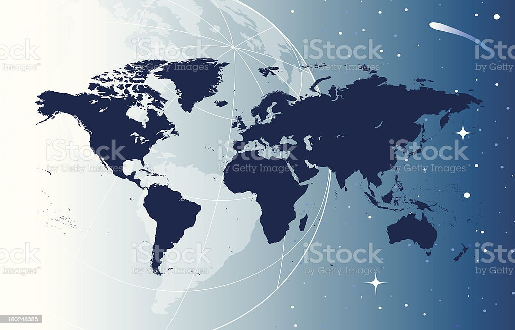World map in space royalty-free stock vector art
