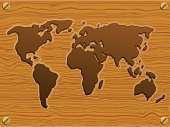 World Map in wooden style