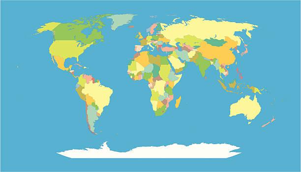 ilustraciones, imágenes clip art, dibujos animados e iconos de stock de mapa mundial de los países del mundo - mapa de antártida