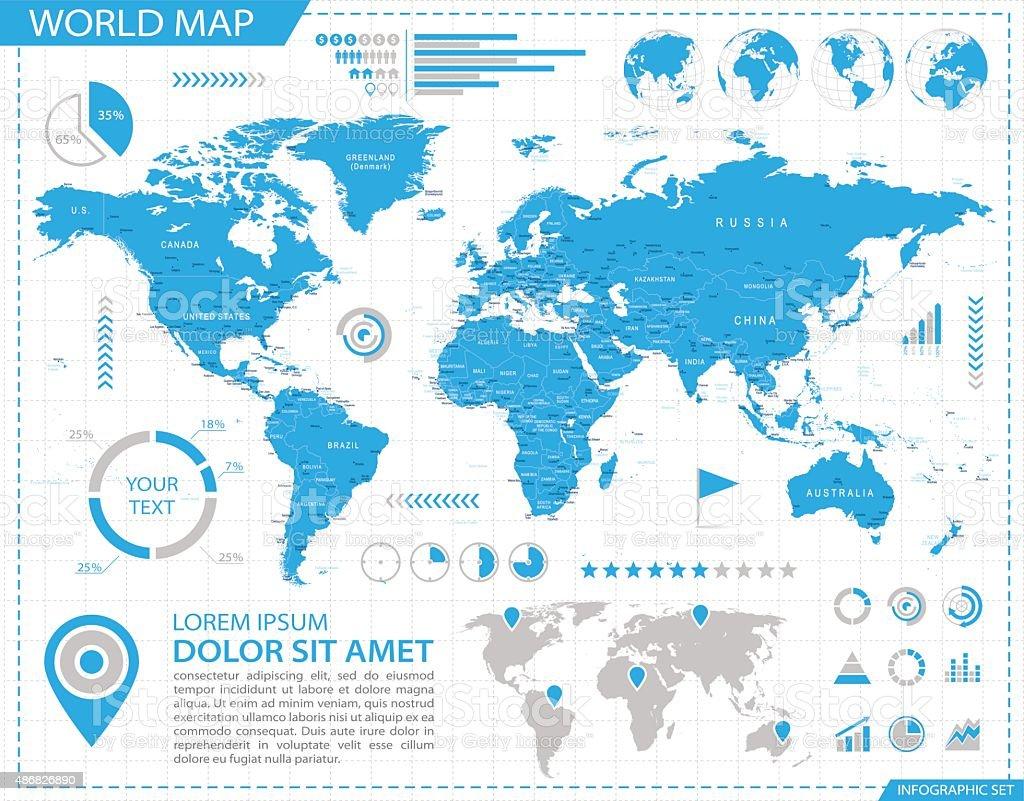 World map, infographic mapa-Ilustración - ilustración de arte vectorial
