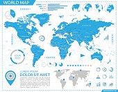 World Map - infographic map - Illustration