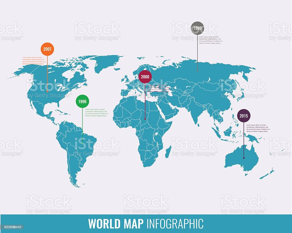 World map infographic template. All countries are selectable vector art illustration