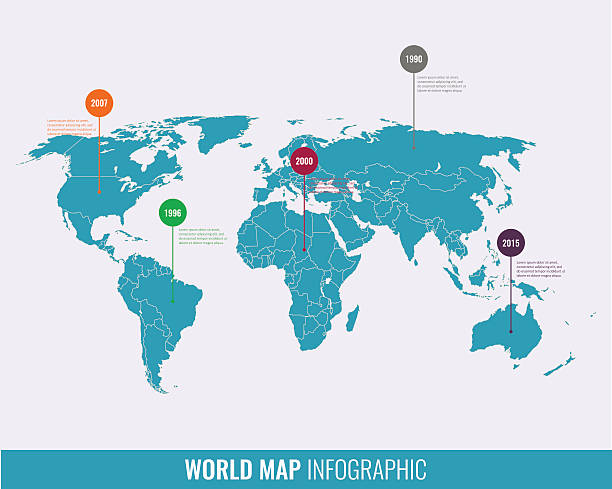 world map infographic template all countries are selectable vector art illustration