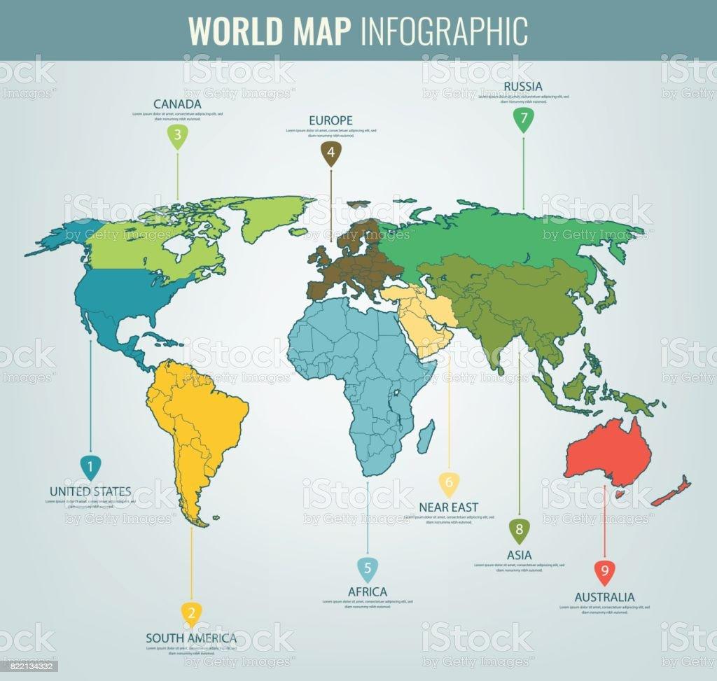 Australien Karta Lander.Varlden Karta Infographic Mall Alla Lander Ar Valbara Vektor
