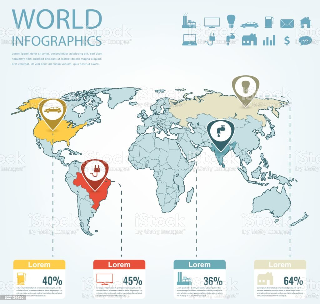 World map infographic template. All countries are selectable. Vector vector art illustration