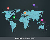 World map infographic template. All country are selectable. Vector illustration