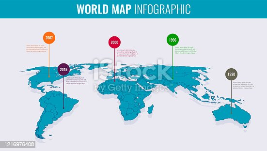 istock World map infographic template. Vector 1216976408
