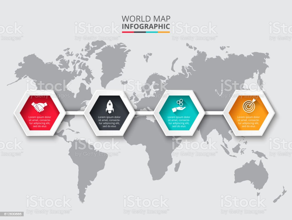 World map infographic template with hexagons stock vector art world map infographic template with hexagons royalty free world map infographic template with hexagons gumiabroncs Choice Image