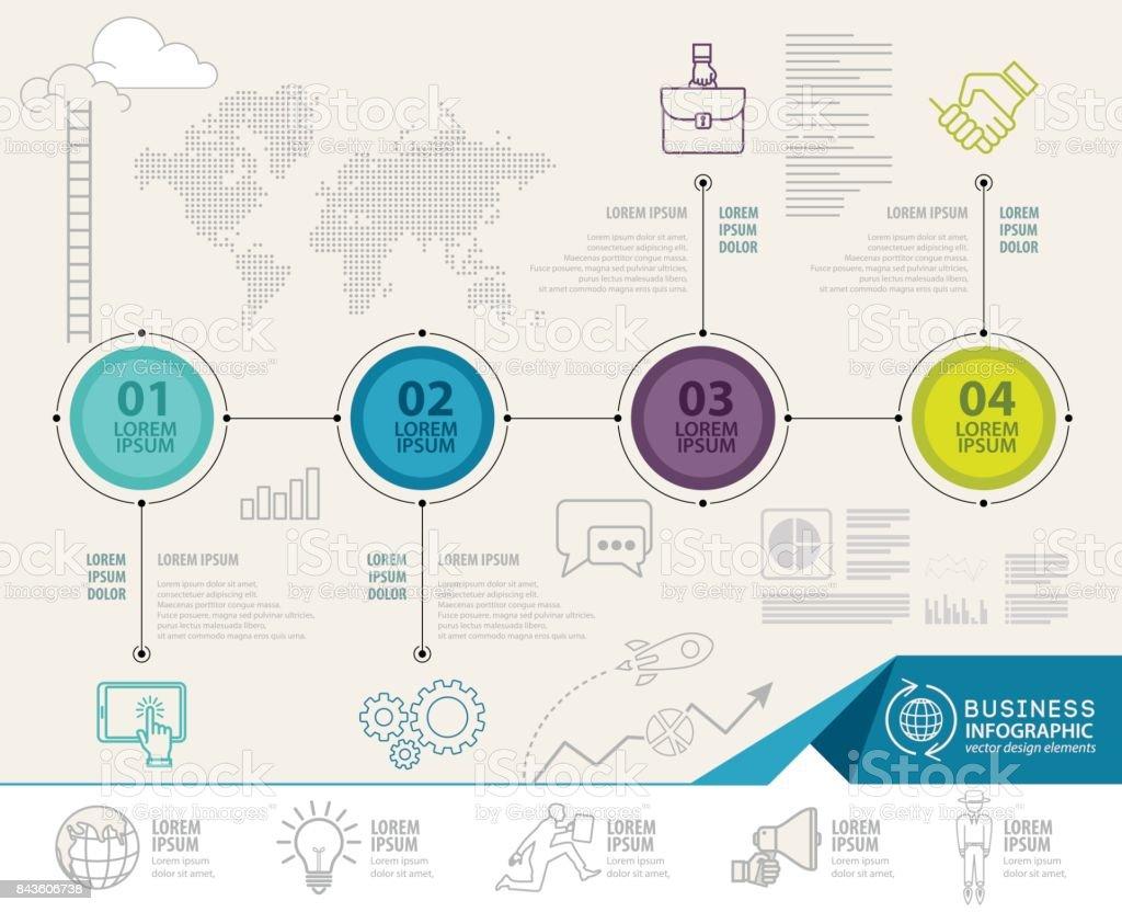 Diseño de vector de mundo mapa infográfico. Plantilla de diseño de infografía - ilustración de arte vectorial