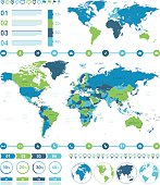 Blue Green Infographic World Map - illustration