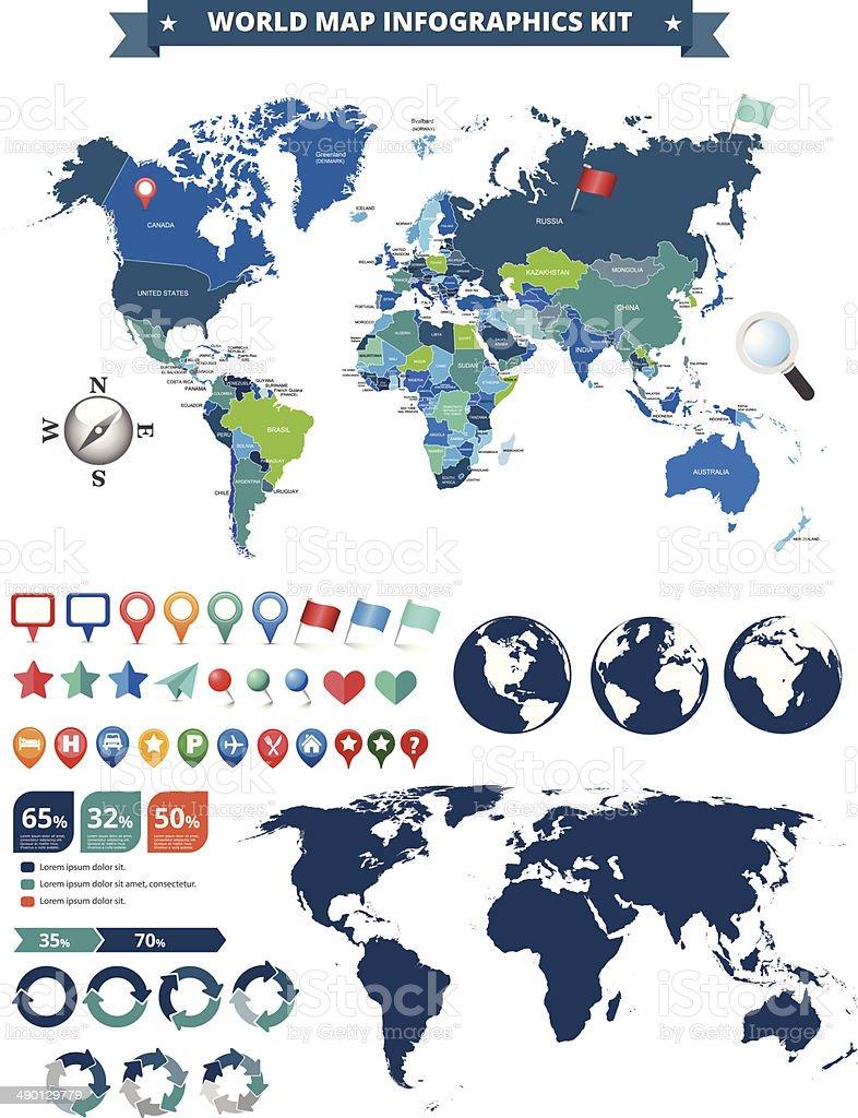 world map infographics kit vector art illustration
