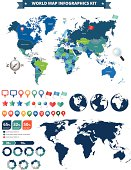 world map infographics kit