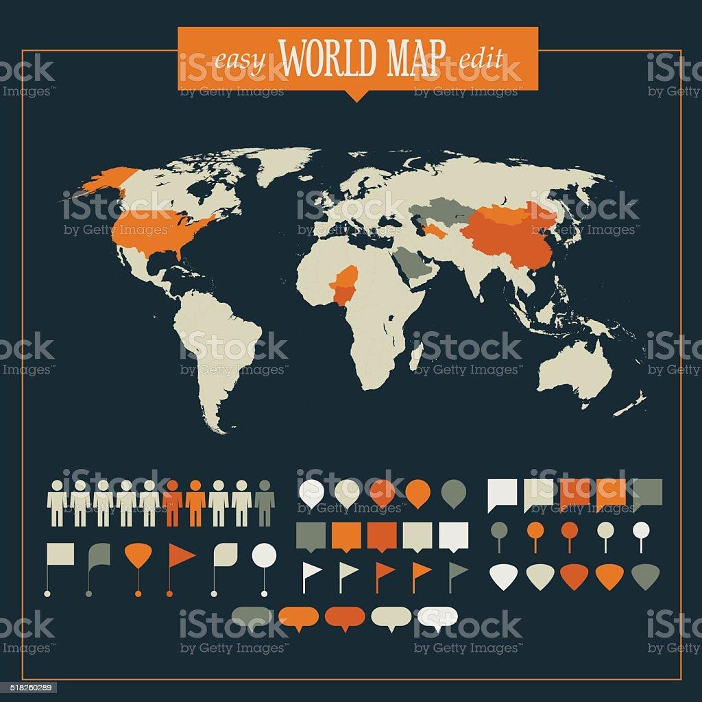 World Map Infographics Template vector art illustration