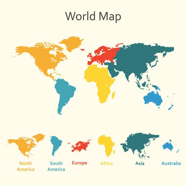 weltkarte infografik. vektor-design-vorlage der weltkarte mit kontinenten. - europa kontinent stock-grafiken, -clipart, -cartoons und -symbole