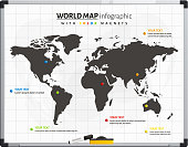 World map infrographic with color magnets.
