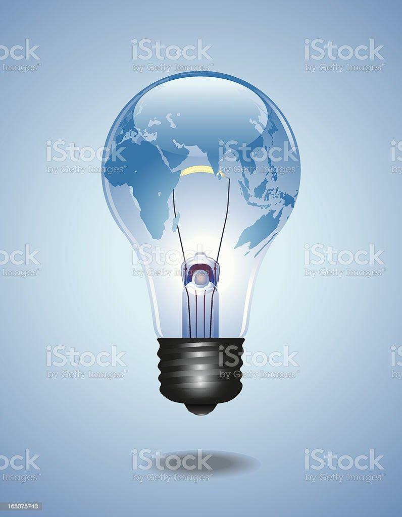 Carte du monde à l'intérieur de l'ampoule illustration - Illustration vectorielle